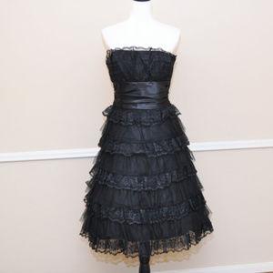 Retro 50's Black Tiered Strapless Lace Dress Sz 12